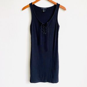 FOREVER 21 LACE UP RIBBED TANK DRESS